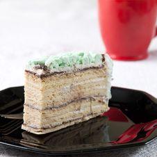 Free Cake Slice On Black Dish. Stock Photos - 26611583