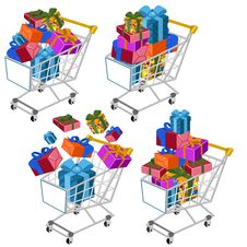 Free Shopping Cart With Gifts Stock Images - 26613034