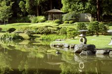 Free Picturesque Japanese Garden With Pond Stock Images - 26613484