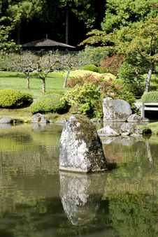 Free Picturesque Japanese Garden With Pond Stock Photography - 26615792