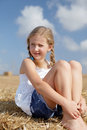 Free Blond Girl On A Haystack Royalty Free Stock Photography - 26622197