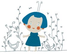 Cartoon Girl With Birds Royalty Free Stock Photos