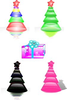 Free Christmas Trees And Gift Royalty Free Stock Image - 26621386