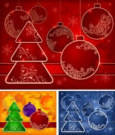 Free Background With Baubles And Tree Royalty Free Stock Images - 26634829