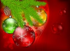 Free Baubles And Fir On Red Background Stock Photography - 26634832