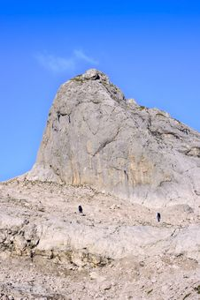 Two Climbers In The Mountains Among The Rocks Stock Photography