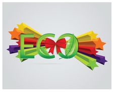 Free Eco Sign With Leafs And Red Ribbons Royalty Free Stock Photo - 26636885