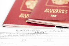 Free Two Passports Are On The Passenger Custom Declarat Stock Image - 26638621