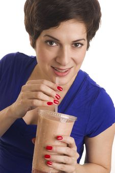 Pretty Woman Sips Flesh Tone Fruit Food Smoothie Stock Images
