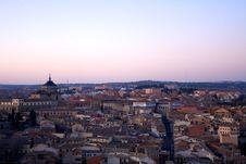 Nightfall View Of Toledo Stock Photo