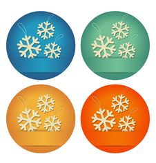 Christmas Bubbles With Crumpled Paper Snowflakes Stock Photos