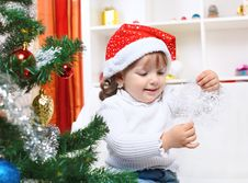 Free Girl In The Hat Of Santa Claus Royalty Free Stock Image - 26645416
