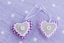 Decorative Aroma Hearts On Lavender Background Royalty Free Stock Image
