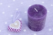 Purple Candle And Decorative Aroma Heart Royalty Free Stock Image
