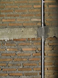 Free Brick Wall With Metal Pipe. Royalty Free Stock Photography - 26648707