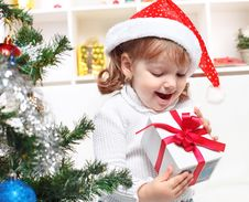 Free Beautiful Girl Dressed In A Santa Claus Hat Stock Photography - 26648722