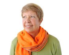 Free Portrait Of Elderly Woman With Orange Cravat Royalty Free Stock Image - 26652556