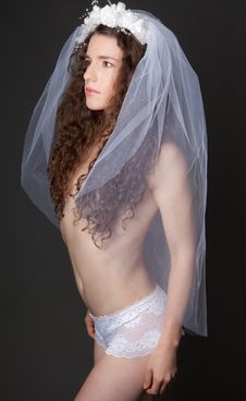 Free Sexy Woman In Veil And Lace Panties Stock Photography - 26655802