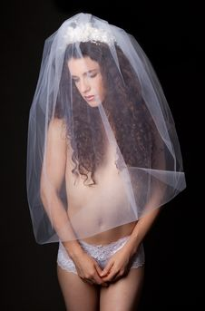 Free Woman In Bridal Veil And Lacy Underwear Stock Image - 26655831