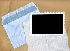Envelope, Squared Paper, Photo Edges. Stock Images