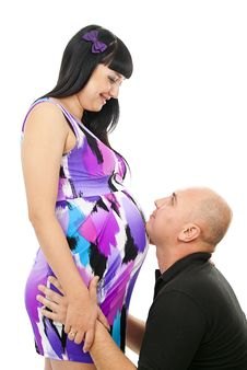Free Happy Husband And A Pregnant Girl Royalty Free Stock Photography - 26664497