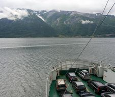 Free Ferry With Cars On A Fjord Royalty Free Stock Photos - 26671378