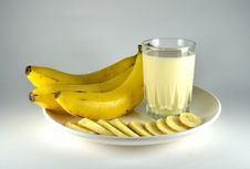 Free Banana And Banana Flavour Milk Stock Photo - 26673740