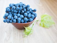 Free Blue Grape Cluster With Leaves Royalty Free Stock Image - 26675146