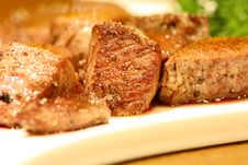 Free Delicious Cubic Beef Steak On A White Dish Stock Photography - 26679012