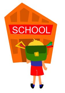 Young Bot Going First Time To School Royalty Free Stock Image