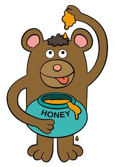 Free Bear Loves Honey Royalty Free Stock Photos - 26686928