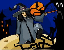 Halloween Witch Casts A Spell In The Forest Stock Image