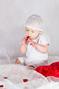 Free Angel Baby With Hearts Stock Images - 26691564
