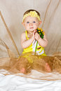 Free Baby Girl Taking In Her&x27;s Arms The Flower Stock Photo - 26691770