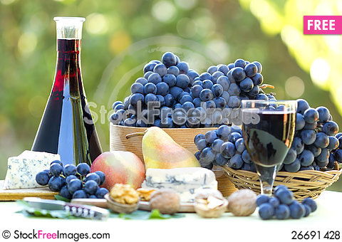 Free Red Wine And Red Grapes Royalty Free Stock Photos - 26691428