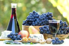 Red Wine And Red Grapes Royalty Free Stock Photos