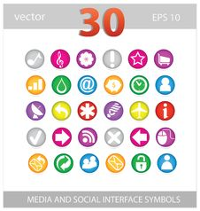 Free Web Colored Media And Social Sign Set Stock Images - 26692014