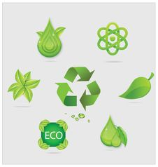 Free Eco Symbols And Emblems Set Green Color Stock Photo - 26692070