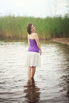 Free Young Woman In The Lake Royalty Free Stock Image - 26693136