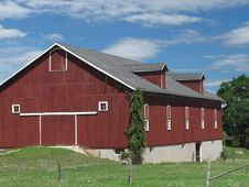 Free Large Red Wooden Farm Barn. Royalty Free Stock Photography - 26693157