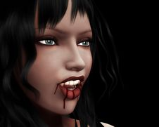 Free Portrait Of Vampire Girl Royalty Free Stock Image - 26697466