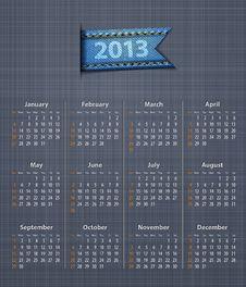 Free Calendar 2013 Linen Back Jeans Inset Stock Photos - 26697703