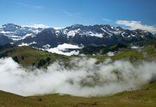 Fog In Swiss Alps Stock Photos