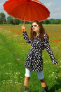 Free Happy Girl With Umbrella Stock Images - 2671534