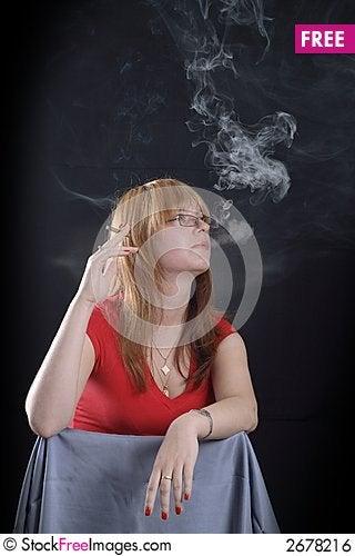 Free Smoking Girl Royalty Free Stock Image - 2678216