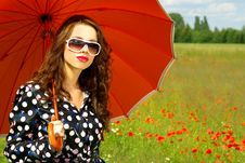 Free Woman With Umbrella Royalty Free Stock Photography - 2671437