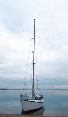 Yacht Near Coastline Royalty Free Stock Photo