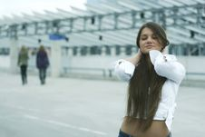 Free Girl On The Carpark On A Roof Royalty Free Stock Photography - 2674767