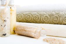 Towels And Bath Salts Stock Photos