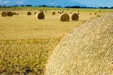 Hay Bales At Sunset Royalty Free Stock Images